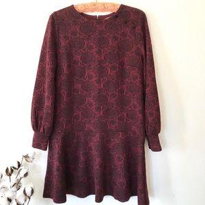 Loft long sleeve fit and flare jacquard dress. 8